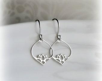 Silver Dangle Earrings, Gift for Her, Lotus Chandelier Earrings Silver, Gift, Sterling Silver Dangle Earrings, Moorish Earrings ~ Blissaria