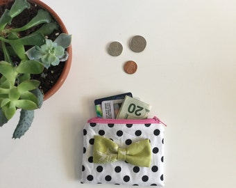 Black white polka dot/ green Bow/ Coin purse/ Business card holder/ wallet/ ID holder #214