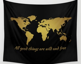 Dark monochromatic world map wall tapestry wall hanging world map wall tapestry inspirational quote wall hanging world map decor thoreau world map gumiabroncs Images