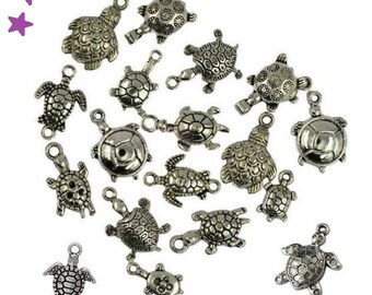 12 charms TURTLE from 10 to 35 mm pendant mix in silver