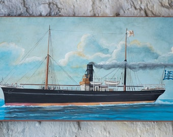 Steamboat  - Painting on old wood