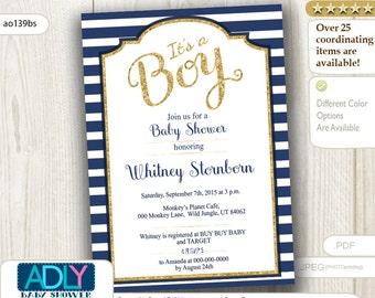 Nautical Navy Gold Boy baby shower invitation, gold glitter, blue stiped digital invitation, print at home, dark blue card - ao139bs