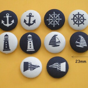Fabric Covered Button Sea Navy Marine Nautical Sailor Anchor Lighthouse Boat Ship Steering Wheel Flag Blue White Shank Flat Craft Scrapbook