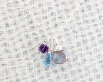 Amethyst Labradorite Gemstone Necklace, Swiss Blue Topaz Charm Necklace, Delicate Sterling Silver Charm Necklace, Bridesmaid Gift Idea