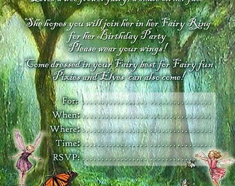 Flower Fairy Party Invitations x 10 c/w Envelopes
