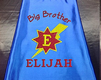Superhero cape  Kid's  cape,   Super Hero Cape Big Brother cape Custom Embroidered   Personalized with name