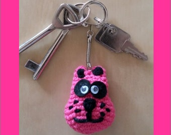 KEYCHAIN - pink dog - crocheted