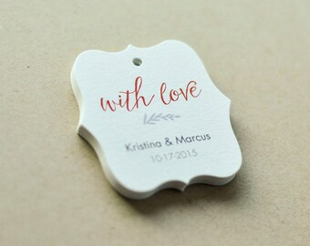 Customized Wedding Tags, With Love Wedding Tags, Thank You Tags, Simple Wedding or Shower tags, Custom made tags, Set of 25 (TW-08)