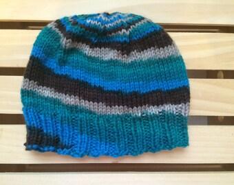 Blue & Brown Stripes Beanie