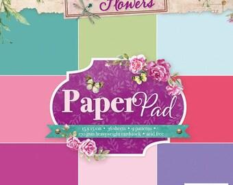 Block paper 15 x 15 - 36feuilles - 170g - United Beautiful flowers - PPBF34