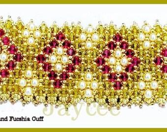 Beading Tutorial - Lime and Fucshia cuff bracelet - Embellished Netting Stitch