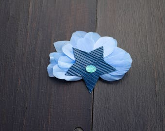 Navy blue leather Barrette star with light blue feathers