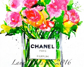 Chanel Art, Floral Still Life, Fashion Art Print, Bouquet of Flowers, Watercolor Painting, Fashion Illustration Chanel n.5, Lana Moes Art