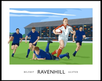 Ravenhill - vintage style railway travel poster art of an Ulster rugby match in Belfast - SUFTUM