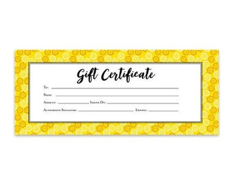Gift certificate printable gift certificate template by cafeink yellow white gift certificate download flowers premade gift certificate template yadclub Choice Image