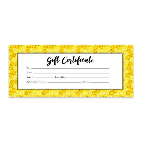 Yellow white gift certificate download flowers premade gift yellow white gift certificate download flowers premade gift certificate template printable blank gift certificate garden japanese yadclub Image collections