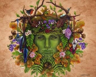 Greenman  -  Pagan Wiccan Print - Brigid Ashwood