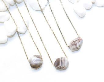 Mini Agate Necklace, Geometric Stone Necklace, Striped Stone Necklace, Dainty Stone Necklace, Boho Layering Necklace, Natural Stone Necklace