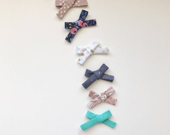 Skinny Hand Tied Bow, Fabric Bow Headband, Fabric Bow Hair Clip, School Girl Bow, Toddler Hair Clip, Nylon Headband, Baby Headband