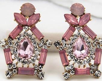 Pink crystal new vintage drop earrings