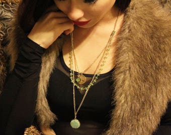 Green crystal beads necklace with gold plated chain and accessories
