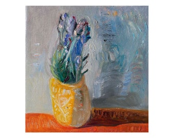 Giclee Fine Art Print - Lavender Flowers in a Yellow Pot - Floral Still Life, Flower Oil Painting on Canvas,  Contemporary Modern Wall Art