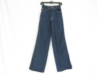 Vintage 70s Denim Flares// High Rise//Dead Stock. X Small