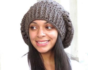 Crochet Slouchy Hat, Tam Hat, Oversize Hat, Adult, Crochet, Women, Color Taupe,