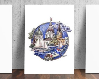 City of Annapolis Maryland Sailing and Architecture Print
