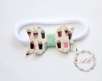 Summer Bow Headband - Frappe Bow Headband - Baby Bow Headband - Nylon Headband - Faux Leather Bow Headband