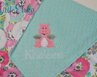 Personalized Baby Blanket, Minky Blanket, Personalized Name Blanket, Name and Dragon Applique, Choose your colors, Choose your size.