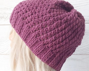 Knitted hat purple hat chunky hat knit hat knit beanie knit slouch hat