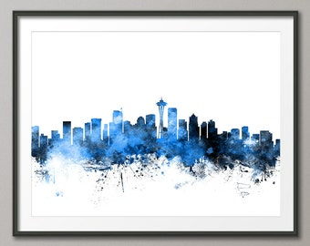 Seattle Skyline, Seattle Washington Cityscape Art Print (1110)