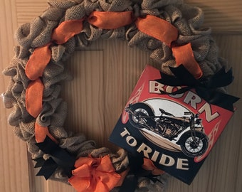 Handmade Born to Ride Burlap Wreath