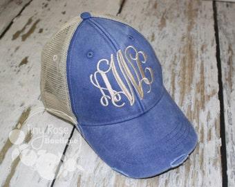 Monogrammed Trucker Hat, Distressed Royal Trucker Hat - Personalized Ball Cap, Mesh Trucker Hat