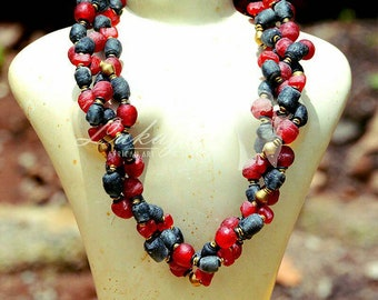 Red& Black chunky African necklace,Red African Jewelry, Afrocentric Red beaded necklace