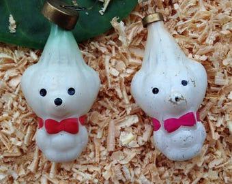 Polar bear Christmas ornament in white color. Christmas gift. Christmas ornaments set of 2