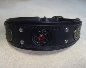BLACK CELTIC - Dog Collar - Red Crystal