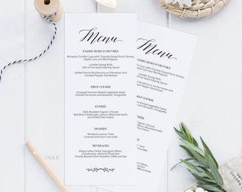 Rustic Printable Wedding Menu Template, Kraft Menu Cards, Menu Template, Editable Menu, Rustic Wedding, Editable PDF Instant Download #E016