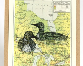 Pair of Loons on Map of Ontario, prints of Original Art, Canada Art, book page art, map art, bird art, loon art, loon call, map of Canada