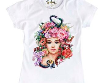 Gorgon, Medusa Head, Mythical Creature, Greek Mythology - Women's t-shirt, my artwork ( by Takila)