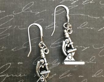 Microscope Earrings Science Laboratory Lab Week gift
