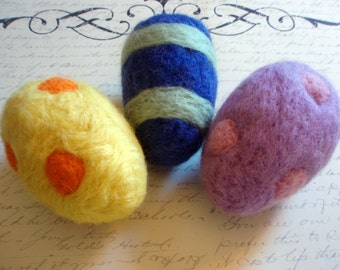Felt Eggs - 3 Large Needle Felted Easter Eggs - You Choose the Colors - Custom Listing - Wool Eggs - Waldorf