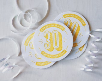 Letterpress Birthday / Anniversary Party Coasters