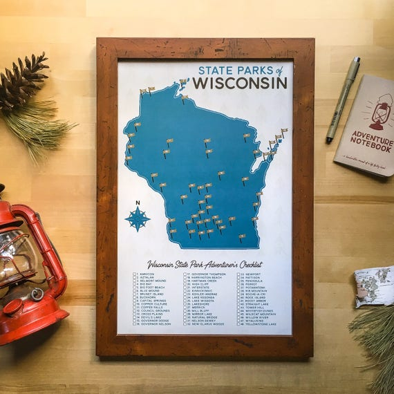 Wisconsin State Parks Map & Checklist 11x17