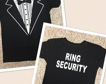 Ring Security shirt / ring bearer t-shirt / tux shirt / wedding shirts / usher shirt / tuxedo shirt / personalize tux / wedding rehearsal