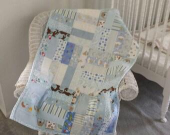 Baby boy blue quilt flannel blanket crib
