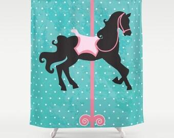 Rocking Horse Fabric Shower Curtain , Kids Shower Curtain , Kids Bathroom , Bathroom Decor , Childrens Bathroom , Modern Bath , Kids Decor