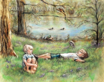 "Friends Brothers Children room decor, Sons- ORIGINAL pastel painting - kids nature  Art ""Summer Delight""  by Laurie Shanholtzer 16x18"