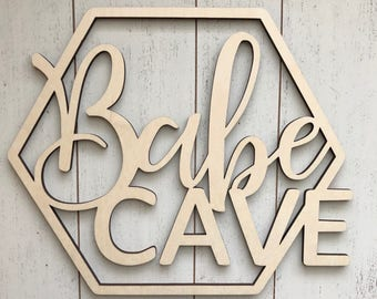 Babe Cave Hexagon Wall Sign - Babe Cave Wood Sign - Babe Cave Geometric Sign - Laser Cut Wood Sign - Fun Door Sign - Office Sign